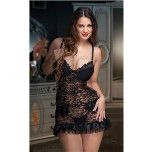 Baby Doll Delantal Encaje Taza Soft Push Up - Clandestine 6134
